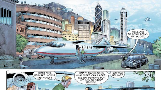 "This image provided by DC Entertainment shows a page from the second issue of the company's ""Earth 2"" comic book series featuring Alan Scott, the alter ego of its Green Lantern character, who is revealed to be gay. The reveal is the latest example of how comics publishers big and small are making their characters just as diverse as the people who read their books. The issue will be available on June 6, 2012 (AP Photo/DC Entertainment)"