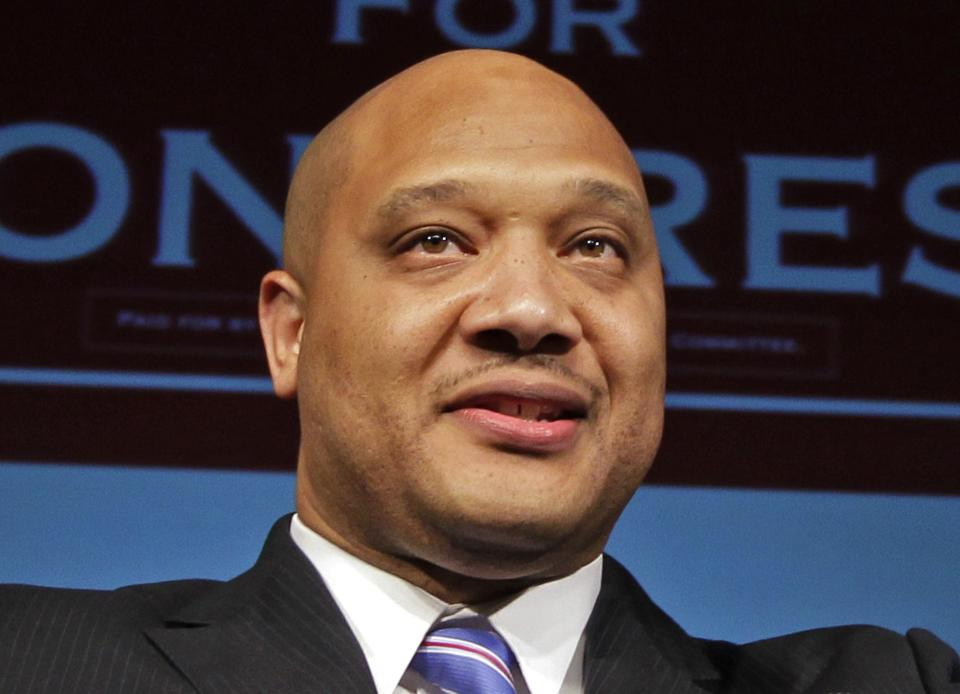 FILE - In this Nov. 6, 2012 file photo, Rep. Andre Carson, D-Ind. speaks in Indianapolis. Top Democrats are defending their appointment of a Muslim...