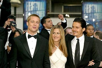 Brad Pitt, Jennifer Aniston and Orlando Bloom