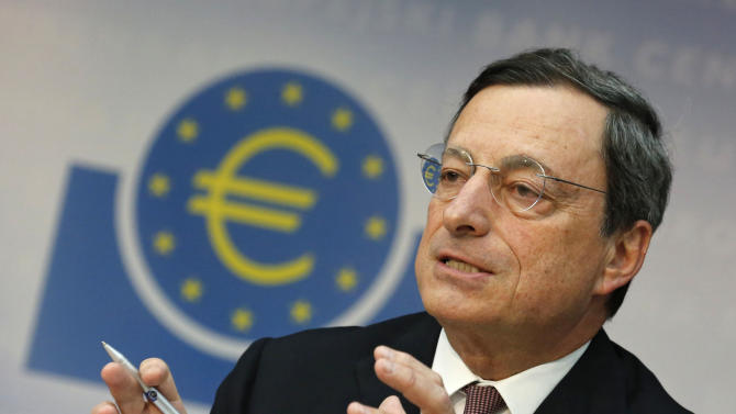 "FILE - In this July 5, 2012 file photo President of the European Central Bank Mario Draghi speaks during a news conference in Frankfurt, central Germany.  Draghi said in an interview with French daily publication Le Monde posted on the bank's website Saturday, July 21, 2012,  that predictions of a eurozone ""explosion"" underestimate ""the political capital that our leaders have invested in this union, as well as the support of European citizens."" (AP Photo/dapd, Mario Vedder, File)"