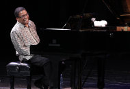 FILE - In this Wednesday, Jan. 16, 2013 file photo, U.S. musician Herbie Hancock performs during a concert, as part of the 10th edition of the Panama Jazz Festival, in Panama City. Hancock, a UNESCO Goodwill Ambassador, is organizing a gala concert with jazz stars from around the world to be held on April 30 at the famed Hagia Irene in the outer courtyard of Topkapi Palace in Istanbul, which has been designated the host city for the second annual U.N.-sanctioned International Jazz Day. (AP Photo/Arnulfo Franco)