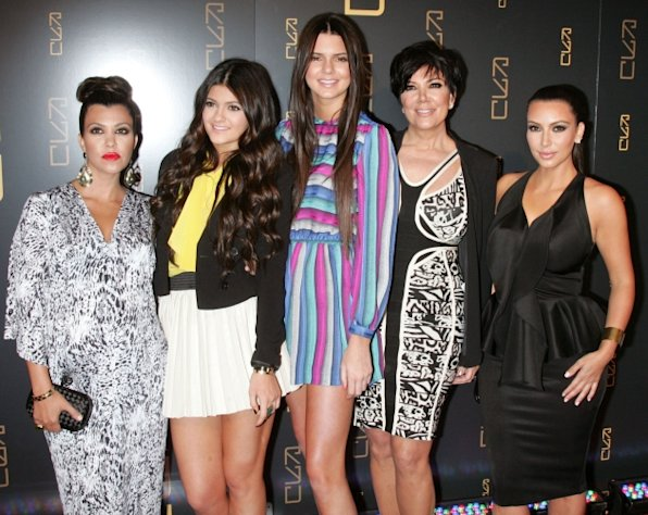 Kourtney Kardashian, Kylie Jenner, Kendall Jenner, Kris Jenner and Kim Kardashian attend the grand opening of RYU in New York City on April 23, 2012 -- Getty Premium