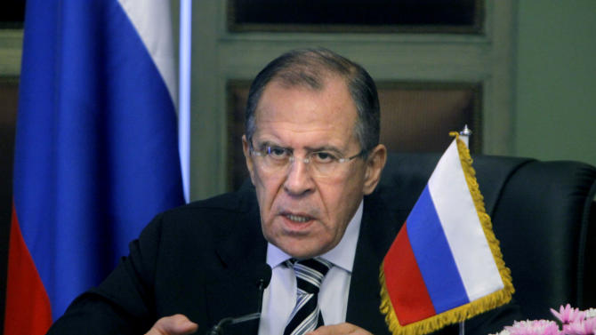 Russian foreign minister Sergei Lavrov, speaks during a press conference in Cairo, Egypt, Thursday, Nov. 14, 2013. Egypt's foreign minister said on Thursday that Russia was too important to be a substitute for the United States as Cairo's foreign ally and backer. (AP Photo/Amr Nabil)
