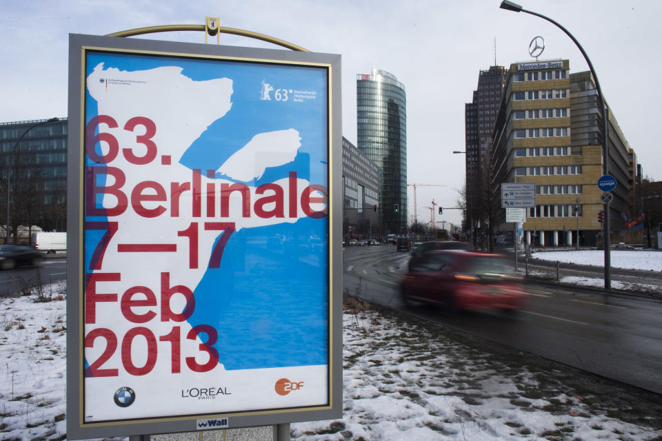 A poster of the International Film Festival Berlin, Berlinale is displayed near Potsdamer Platz in Berlin, Monday, Jan. 28, 2013. The 63rd Berlinale festival will take place from Feb. 7, until Feb. 17, 2013 in Berlin. (AP Photo/Markus Schreiber)