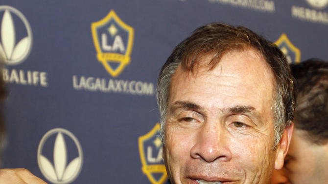 Los Angeles Galaxy coach Bruce Arena meets with reporters during a news conference in Carson, Calif., Tuesday, Nov. 20, 2012. The Galaxy's English soccer star David Beckham will play his final game for the club in the MLS Cup next month. (AP Photo/Alex Gallardo)