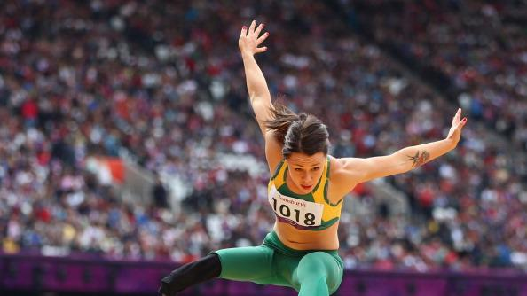 Kelly Cartwright of Australia competes in the Women's Long Jump - F42/44 Final on day 4 of the London 2012 Paralympic Games at Olympic Stadium on September 2, 2012 in London, England. (Photo by Michael Steele/Getty Images)