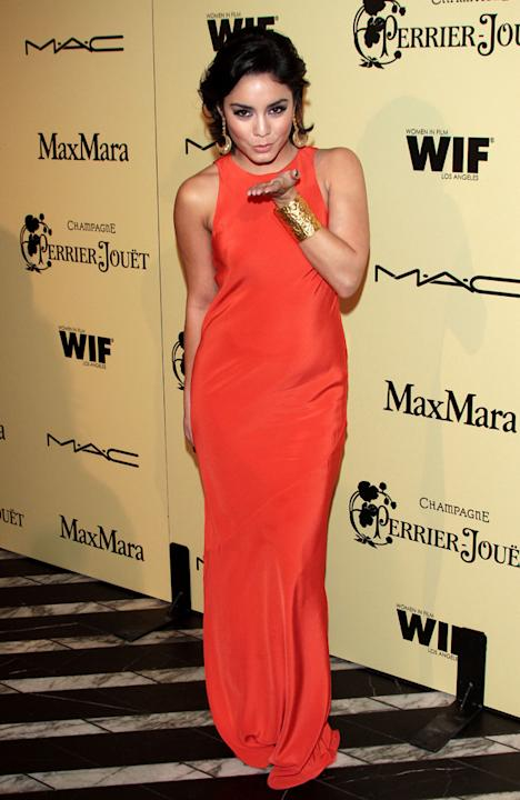 Oscars 2012 Pre Party: Vanessa Hudgens blew a kiss at the Women in Film Pre-Oscar Cocktail Party.