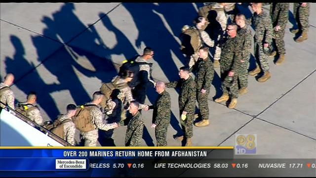 Over 200 Marines return home from Afghanistan