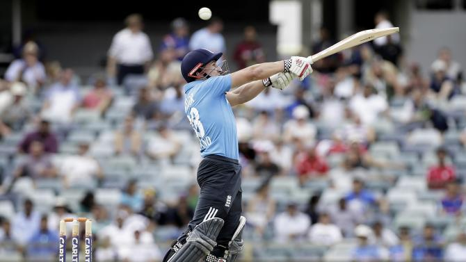 England's James Taylor swings for the ball during their One Day International (ODI) tri-series cricket match against India at the WACA ground in Perth