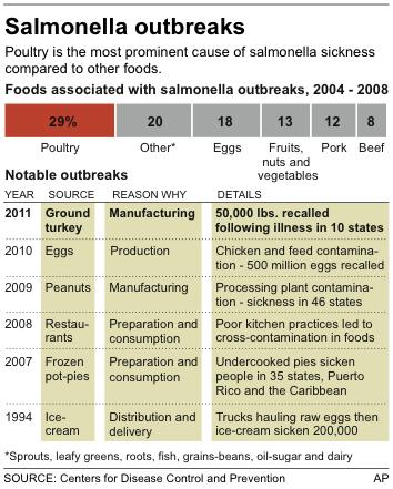Graphic shows foods associated with salmonella and recent notable outbreaks