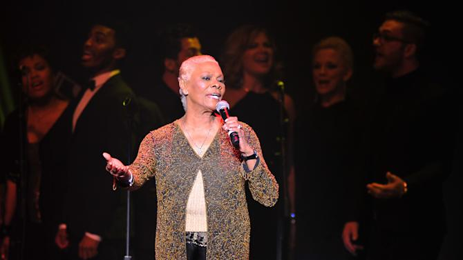"""Singer Dionne Warwick performs at """"Play It Forward: A Celebration of Music's Evolution and Influencers"""" at the Grammy Foundation's 15th Annual Music Preservation Project, Thursday, Feb. 7, 2013, in Los Angeles. (Photo by Vince Bucci/Invision/AP)"""