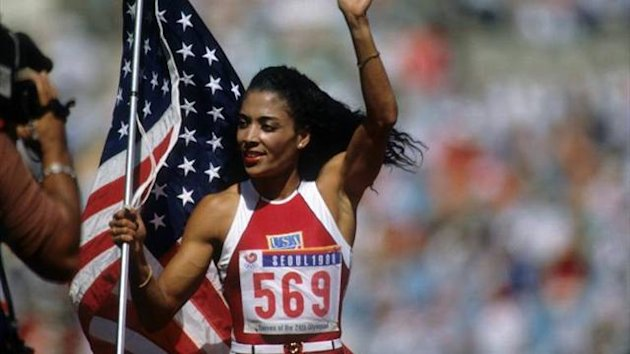 Florence-Griffith Joyner celebrates her 200m victory at Seoul