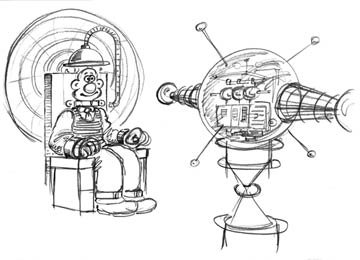 Design sketches for Wallace's contraption from DreamWorks Animation's Wallace &amp; Gromit: The Curse of the Were-Rabbit