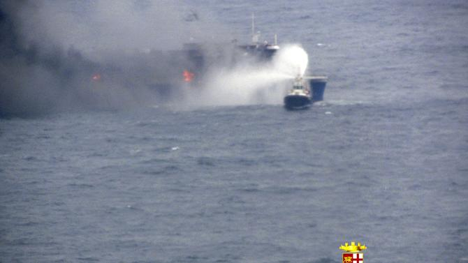 Handout picture showing car ferry Norman Atlantic burning in waters off Greece