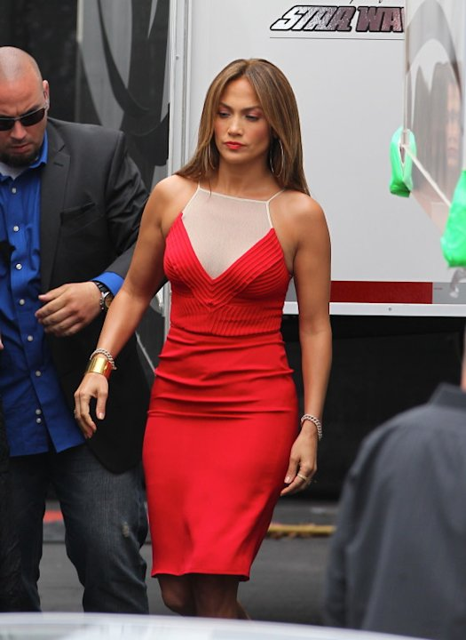 Jennifer Lopez in red at America Idol