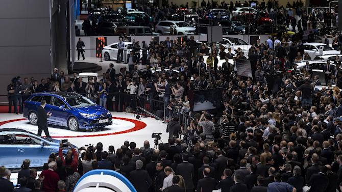 The new Toyota Avensis on display at the Geneva Motor Show