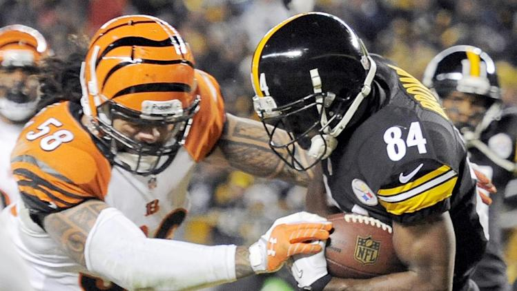 Pittsburgh Steelers wide receiver Antonio Brown (84) makes a touchdown catch in front of Cincinnati Bengals middle linebacker Rey Maualuga (58) in the first quarter of an NFL football game on Sunday, Dec. 15, 2013, in Pittsburgh. (AP Photo/Don Wright)
