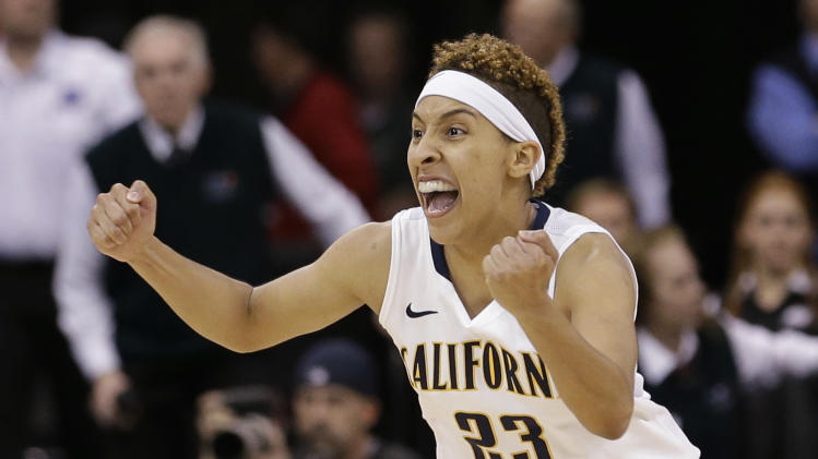 California's Layshia Clarendon reacts to the end of the game after her team beat Georgia in overtime in a regional final in the NCAA women's college basketball tournament, Monday, April 1, 2013, in Spokane, Wash. Cal won 65-62. (AP Photo/Elaine Thompson)