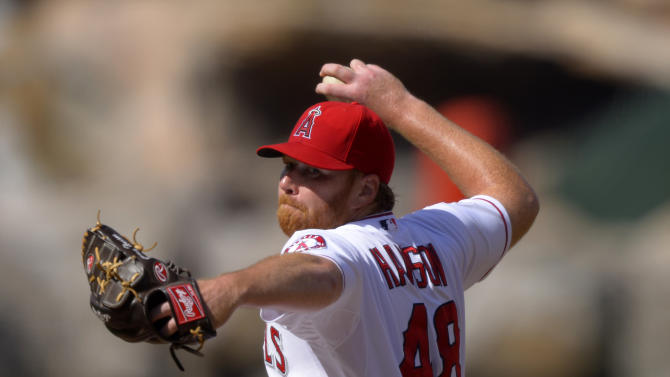 Los Angeles Angels starting pitcher Tommy Hanson throws to the plate during the first inning of their baseball game on Saturday, June 15, 2013, in Anaheim, Calif. (AP Photo/Mark J. Terrill)