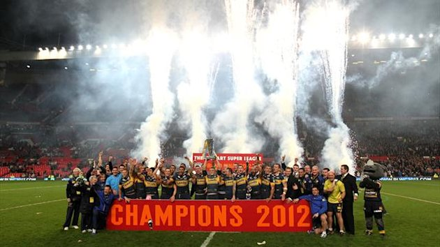 Leeds Rhinos celebrate with the Super League 2012 trophy