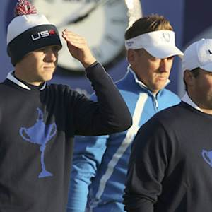 Jordan Spieth and Patrick Reed talk about their first Ryder Cup Fourball match