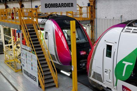 New regional transport trains are seen at the Bombardier plant in Crespin