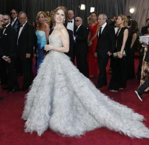 Actress Amy Adams arrives at the 85th Academy Awards at the Dolby Theatre on Sunday Feb. 24, 2013, in Los Angeles. (Photo by Todd Williamson/Invision/AP)