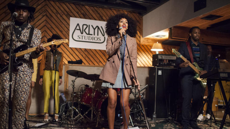 This March 10, 2013 image released by Raptor House shows Solange Knowles performing at the Nokia Music and Verizon Wireless present Solange at Roc Nation / Raptor House late night at Arlyn Studios in Austin, Texas. (AP Photo/Raptor House, Spencer Selvidge)