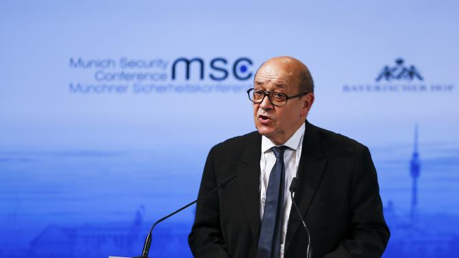 French Defence Minister Le Drian addresses the Munich Security Conference in Munich