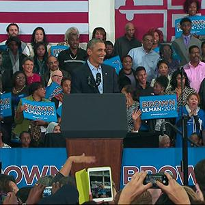 Campaign Trail, Obama Says GOP Is Peddling Fear