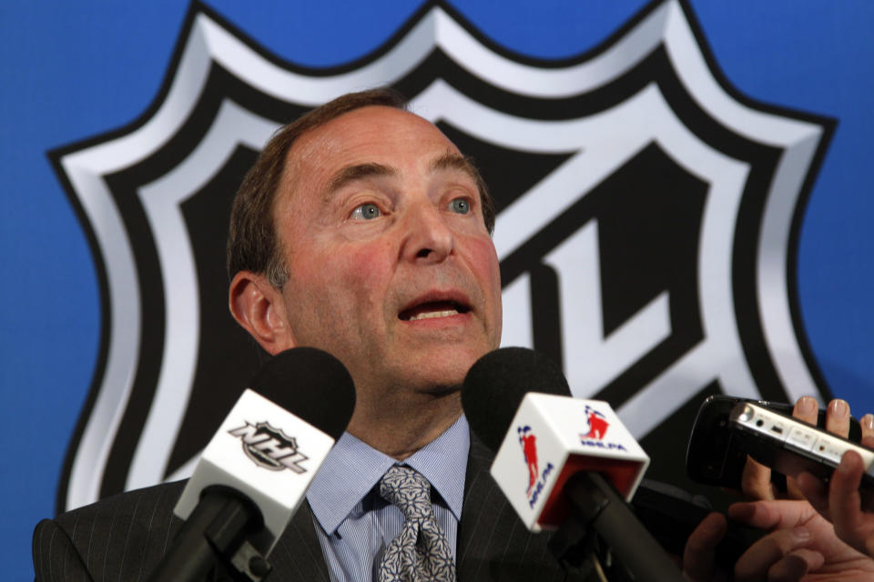 NHL commissioner Gary Bettman speaks to reporters after meeting with the NHL Players' Association representatives during a news conference at NHL headquarters, Wednesday, Sept. 12, 2012 in New York. The NHL and the players' association exchanged proposals on Wednesday as negotiations resumed in an effort to avoid a lockout this weekend.  (AP Photo/Mary Altaffer)