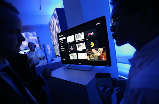 NEW YORK - OCTOBER 12:  The new Sony Internet TV is seen after it was unveiled October 12, 2010 in New York City. The LCD television is powered by Google TV and is the first to allow viewers to watch HD television while surfing the web and using applications at the same time.  (Photo by Mario Tama/Getty Images)