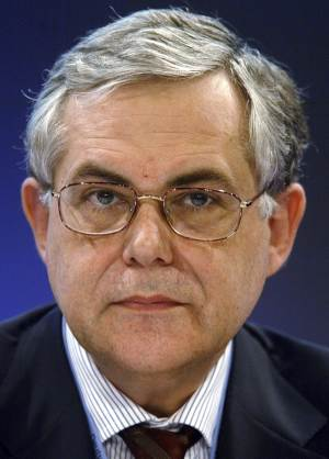 FILE - In this May 4 2005 file photo, Lucas Papademos, former European Central Bank (ECB) Vice President attends a news conference about the results of the ECB-meeting in Berlin. Former European Central Bank Vice President Lucas Papademos joined Greek political leaders at powersharing talks on Thursday, Nov. 10, 2011 to form a new government. (AP Photo/Roberto Pfeil, Pool-File)