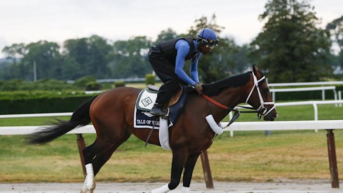 Belmont Stakes hopeful Tale of Verve gallops during his morning workout at Belmont Park in Elmont, New York