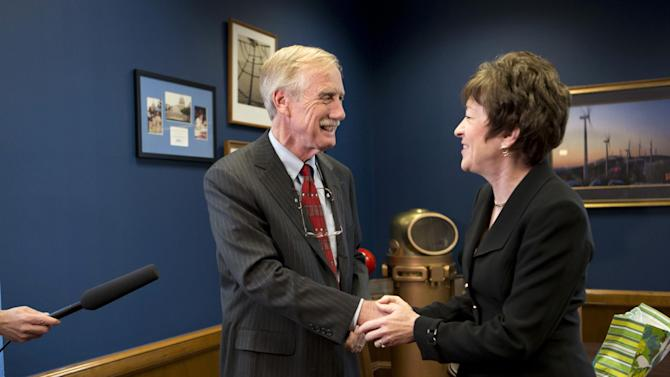 Sen. Susan Collins, R-Maine meets with Sen.-elect Angus King, I-Maine in her office on Capitol Hill in Washington, Tuesday, Nov. 13, 2012, to discuss committee assignments and how they'll work together to represent Maine in the Senate. (AP Photo/J. Scott Applewhite)