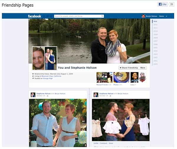 Facebook recently launched 'couples pages', which show the relationship timeline between two people. (Facebook)