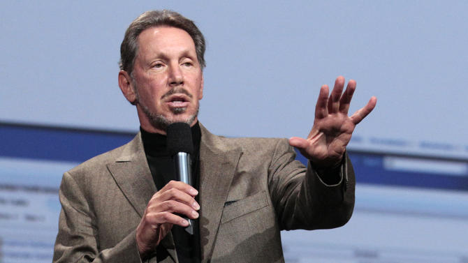 In this Oct. 5, 2011 photo, Oracle CEO Larry Ellison speaks during the Oracle OpenWorld Keynote in San Francisco. Ellison has reached a deal to buy 98 percent of the island of Lanai from its current owner, Hawaii Gov. Neil Abercrombie said Wednesday, June 20, 2012. (AP Photo/Jeff Chiu)