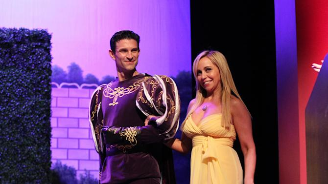 """Tara Strong, right, walk on stage The Hub TV Network's """"My Little Pony Friendship is Magic"""" Coronation Concert at the Brentwood Theatre on Saturday, Feb. 9, 2013, in Los Angeles in support of Children's Hospital LA. (Photo by Matt Sayles/Invision for The Hub/AP Images)"""