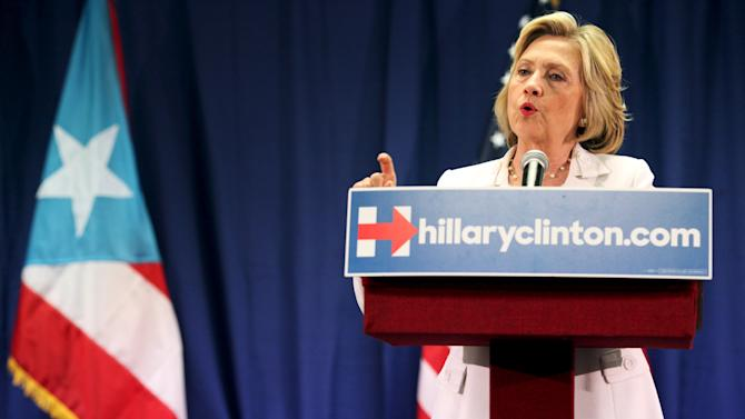 U.S. Democratic presidential candidate Hillary Clinton addresses a panel on healthcare in San Juan