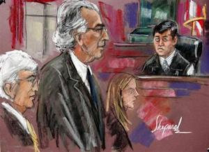 Court artist's sketch shows disgraced financier Madoff attending his sentencing hearing in New York