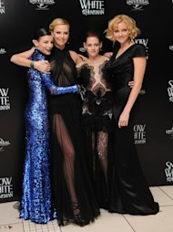 "LONDON, UNITED KINGDOM - MAY 14: Liberty Ross, Charlize Theron, Kristin Stewart and Lily Cole attend the World Premiere of ""Snow White and The Huntsman"" at Empire Leicester Square on May 14, 2012 in London, England. (Photo by Stuart Wilson/Getty Images)"