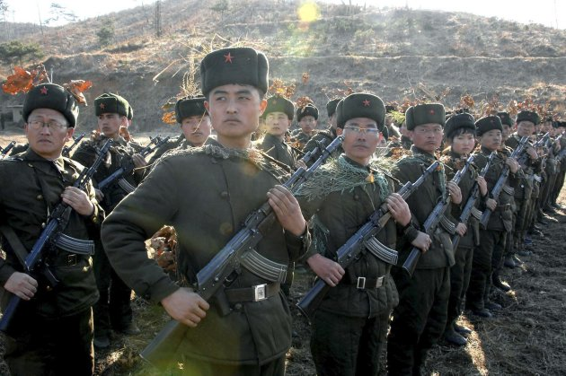 North Korean members of the Worker-Peasant Red Guards attend military training