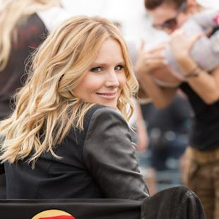 "This image released by Warner Bros. Pictures shows Kristen Bell on the set of ""Veronica Mars."" It took 91,585 Kickstarter backers and their $5.7 million to make it happen, but the cult, canceled TV show ""Veronica Mars"" has been reborn on the big screen. As the first major Hollywood use of Kickstarter, the project has been an unlikely force of innovation, and kicked up a host of questions about crowd-funding and the movie business. (AP Photo/Warner Bros. Pictures, Robert Voets)"