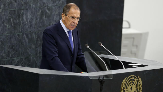 Russia's Foreign Minister Sergey Lavrov addresses the 68th session of the United Nations General Assembly at U.N. headquarters, Friday, Sept. 27, 2013. (AP Photo/Jason DeCrow)