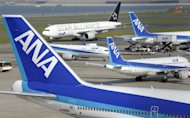 File photo shows Japan's All Nippon Airways jetliners at the Haneda airport in Tokyo. The airline is to issue new shares worth 200 billion yen ($2.5 billion) this month, the company said Tuesday