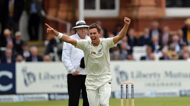 Trent Boult took four wickets as the West Indies crumbled to the brink of defeat in Hamilton