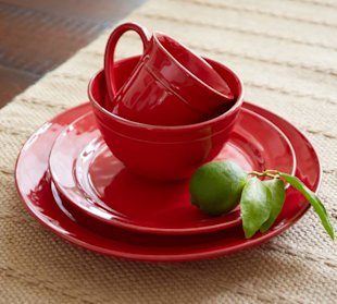 red home accessories dinnerware Pottery Barn