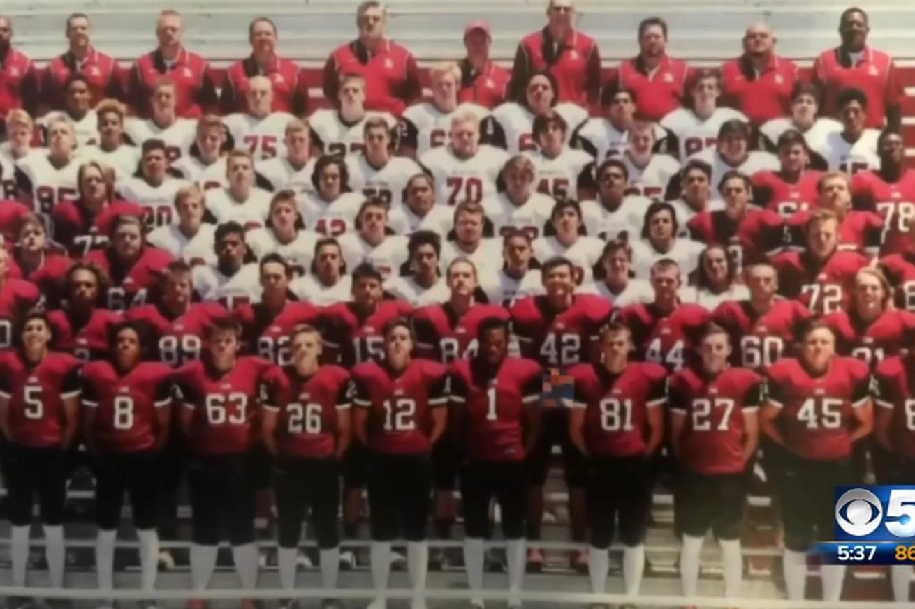 High school football player faces 70 criminal charges for yearbook picture prank
