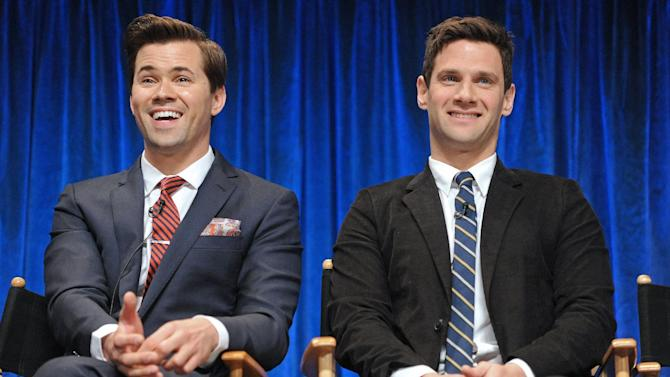"""FILE - This March 6, 2013 file photo shows Andrew Rannells, left, and Justin Bartha during the Paley Center for Media's PaleyFest hosted by Samsung Galaxy, honoring """"The New Normal,"""" at the Saban Theatre, in Los Angeles, Calif.  The series uses humor to tackle social issues like homophobia and racism. (Photo by Kevin Parry/Invision/AP, File)"""