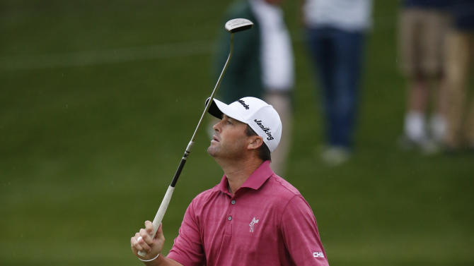 Ryan Palmer reacts after missing a birdie putt on the eighth hole during the first round of the Phoenix Open golf tournament, Thursday, Jan. 29, 2015, in Scottsdale, Ariz. (AP Photo/Rick Scuteri)